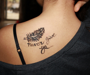 tattoo, never give up, and photography image