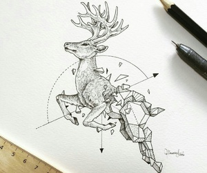 art, deer, and drawing image