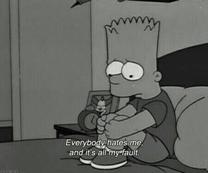 black and whitw and the simpsons image