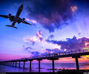 airplane, airport, and clouds image