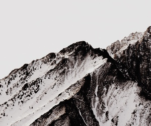black and white, mountains, and snow image