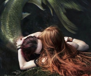 mermaid, sea, and couple image