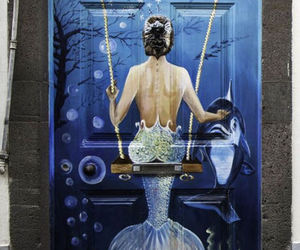 art, mermaid, and door image