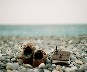 shoes, book, and sea image