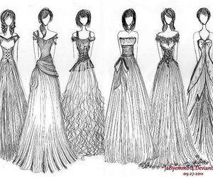 dress, drawing, and sketch image