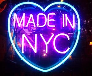 neon, nyc, and light image