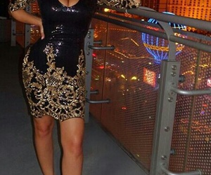 dresses, gold and black, and hot miami styles image
