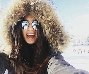 girl, snow, and sunglasses image