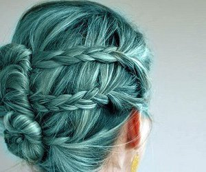 bun, hair, and teal hair image
