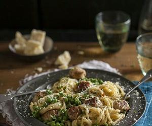 pasta, peas, and sausage image