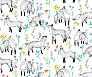 flowers, fox, and background image