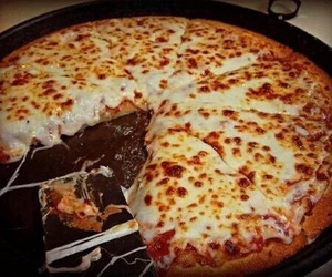 food, pizza, and cheesse image