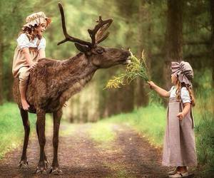 deer, little girl, and nature image