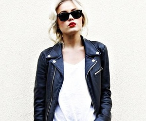 fashion, blonde, and leather image