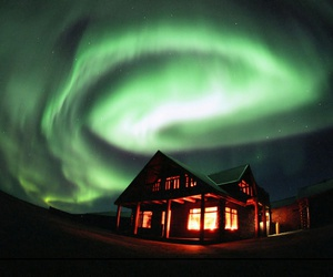 house, green, and aurora image