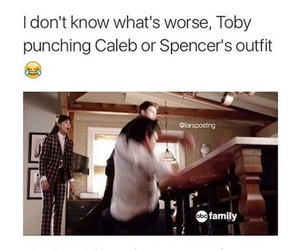 pll, caleb, and funny image