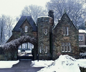 house, winter, and england image