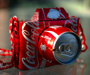 camera, coca cola, and red image