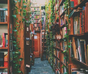 book, library, and nature image