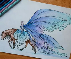 art, cheval, and dessin image