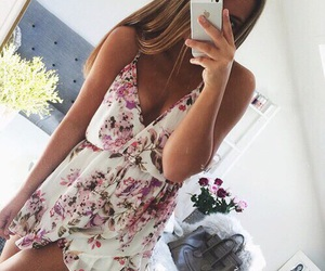 dress, girl, and iphone image