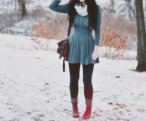 black leggings, blue socks, and white scarf image