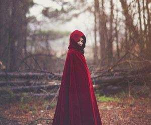 red, fantasy, and forest image