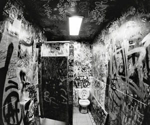 graffiti, black and white, and toilet image