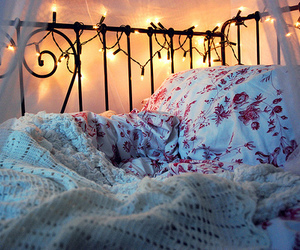 beautiful, bed, and lights image