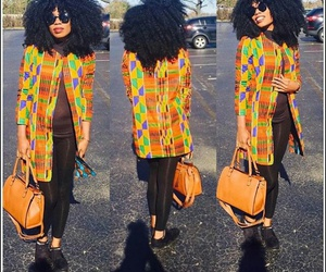 curly hair, outfit, and african print image