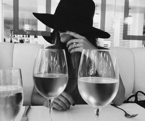 girl, hat, and wine image