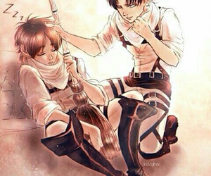levi, eren, and snk image