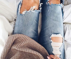 clothes, ripped jeans, and fashion image