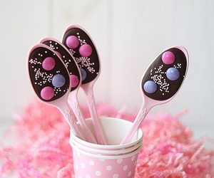 chocolate, pink, and spoon image