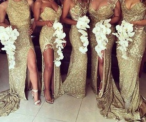 gold, wedding, and dress image