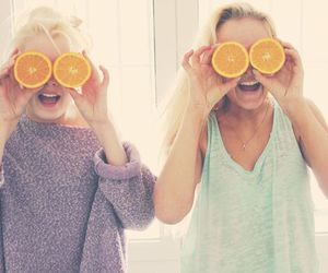 girl, friends, and orange image