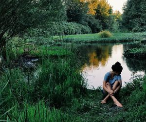 nature, girl, and green image