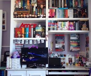 books, bookshelf, and colors image