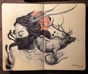 art, blue, and deer image