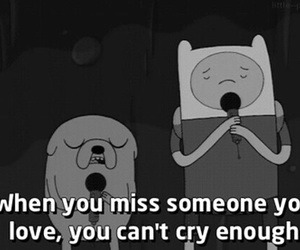 adventure time, cry, and black and white image