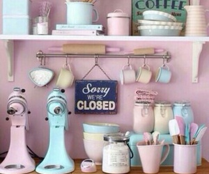 pastel, kitchen, and pink image