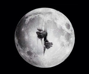 moon, art, and hands image