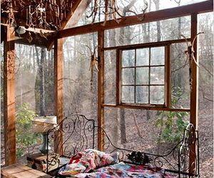 bed, forest, and house image