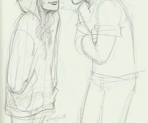 couple, drawing, and love image