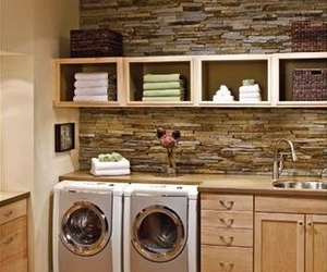 bricks, laundry room, and shelves image