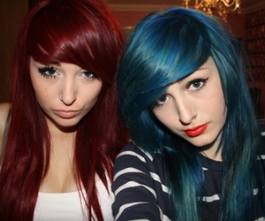 girl, blue hair, and red hair image