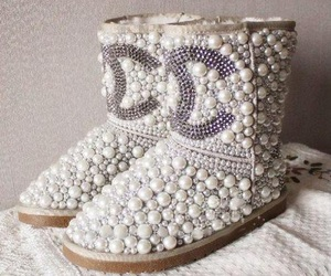 chanel, boots, and pearls image