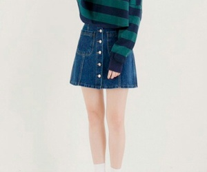 blue, green, and denim skirt image