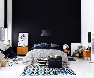 black, interior, and bedroom image