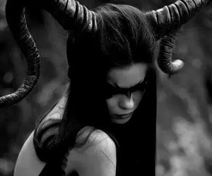 girl, dark, and horns image
